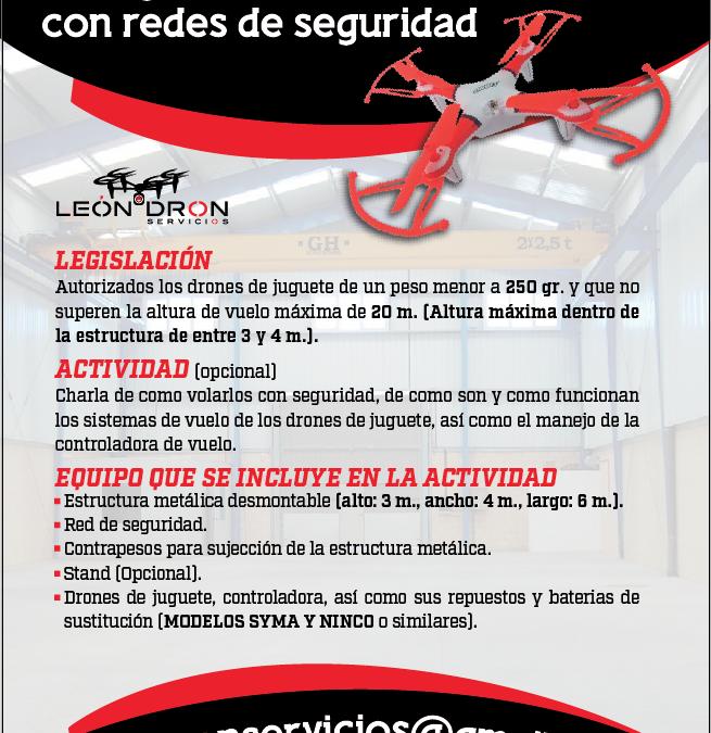 VUELO DE DRONES DE JUGUETE EN ESTRUCTURA METALICA CON RED DE SEGURIDAD 1